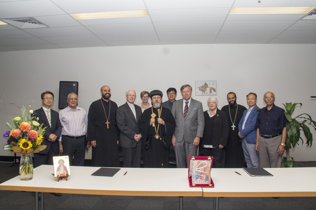 From left to right: St Cyril's Registrar (Mounir Azer) Dean (Fr. Daniel Fanous), President (Bishop Daniel), Director of Ministry (Fr Mark Basily), and Secretary of the College Council (Saad Sefein), with members of SCD leadership.