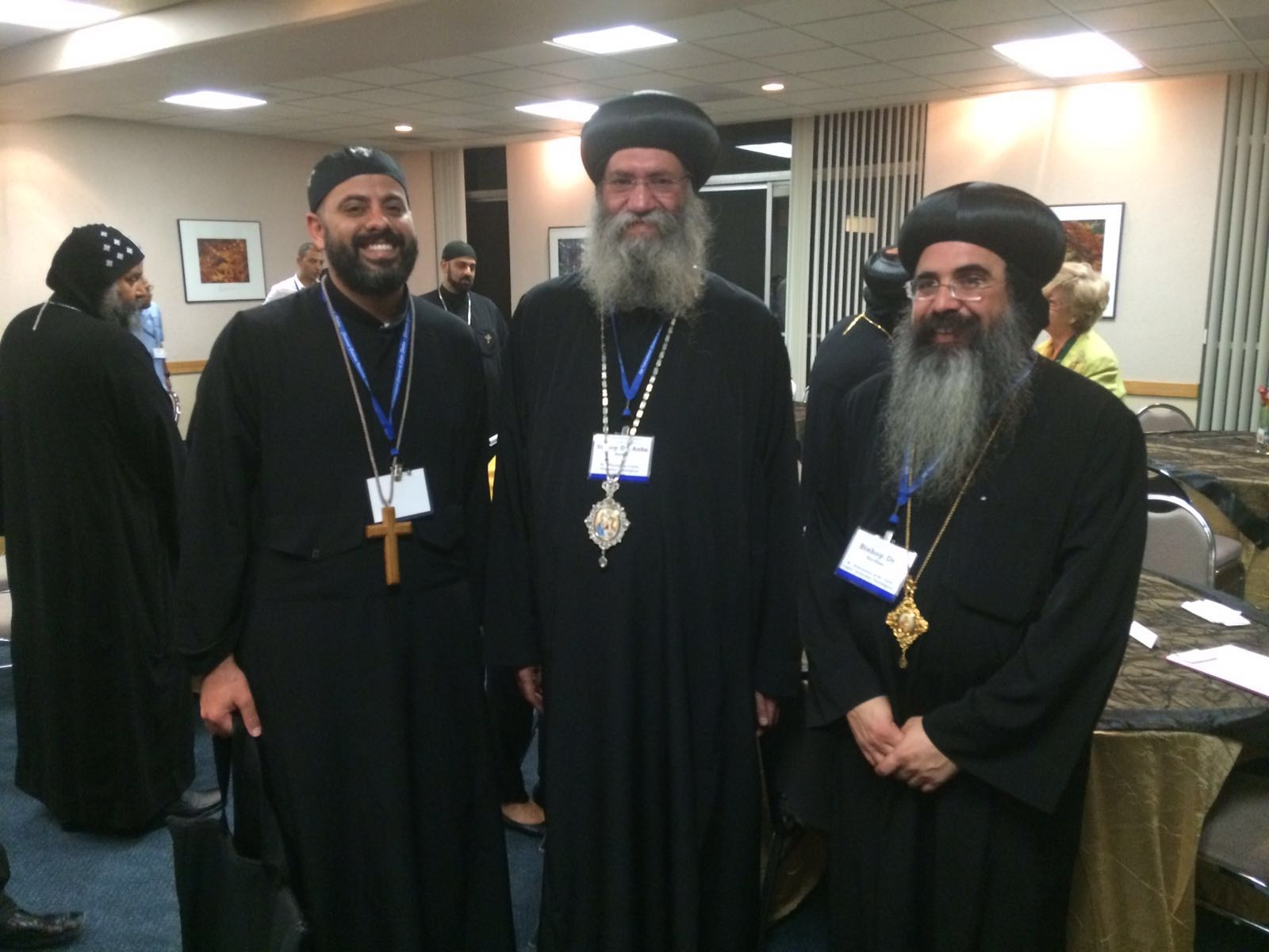 The Deans of three Coptic Orthodox Theological Institutions (Left to Right): Bishop Kyrillos (ACTS, Claremont), Bishop Suriel (St Athanasius Theological College, Melbourne), and Fr Daniel Fanous (St Cyril's Theological College, Sydney)